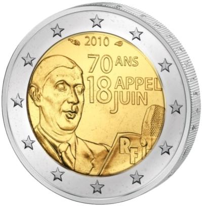 Монета номиналом 2 евро 70 лет речи Шарля де Голля 18 июня 1940 г.. Франция, 2010 годF30 BLUEМонета номиналом 2 евро 70 лет речи Шарля де Голля 18 июня 1940 г.. Франция, 2010 год Диаметр 2,5 см. Сохранность UNC (без обращения).