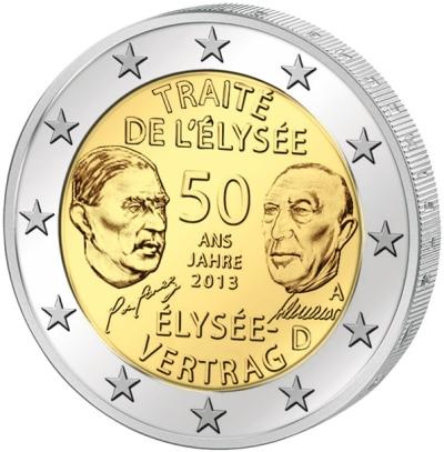 Монета номиналом 2 евро 50 лет Франко-Германскому договору о дружбе и сотрудничестве. Германия, 2013 годL2070 EМонета номиналом 2 евро 50 лет Франко-Германскому договору о дружбе и сотрудничестве. Германия, 2013 год. Диаметр 2,5 см. Сохранность UNC (без обращения).
