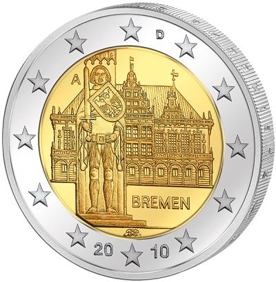 Монета номиналом 2 евро Бремен. Германия, 2010 годL2070 EМонета номиналом 2 евро Бремен. Германия, 2010 год Диаметр 2,5 см. Сохранность UNC (без обращения).