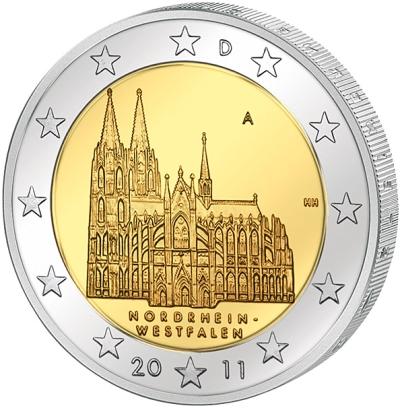 Монета номиналом 2 евро Северный Рейн-Вестфалия. Германия, 2011 год211104Монета номиналом 2 евро Северный Рейн-Вестфалия. Германия, 2011 год. Диаметр 2,5 см. Сохранность UNC (без обращения).