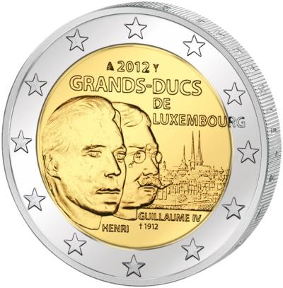 Монета номиналом 2 евро 100 лет со дня смерти Великого Герцога Вильгельма IV. Люксембург, 2012 годL2070 EМонета номиналом 2 евро 100 лет со дня смерти Великого Герцога Вильгельма IV. Люксембург, 2012 год Диаметр 2,5 см. Сохранность UNC (без обращения).