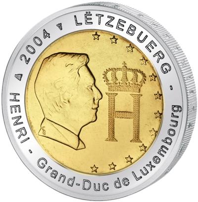Монета номиналом 2 евро Генри - Великий герцог Люксембургский. Люксембург, 2004 годF30 BLUEМонета номиналом 2 евро Генри - Великий герцог Люксембургский. Люксембург, 2004 год Диаметр 2,5 см. Сохранность UNC (без обращения).