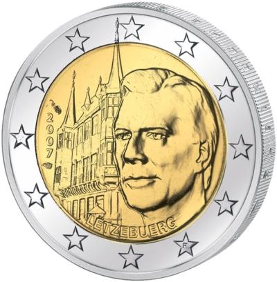 Монета номиналом 2 евро Дворец великих герцогов. Люксембург, 2007 годL2070 EМонета номиналом 2 евро Дворец великих герцогов. Люксембург, 2007 год. Диаметр 2,5 см. Сохранность UNC (без обращения).