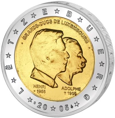 Монета номиналом 2 евро Три годовщины. Люксембург, 2005 годL2070 EМонета номиналом 2 евро Три годовщины. Люксембург, 2005 год Диаметр 2,5 см. Сохранность UNC (без обращения).