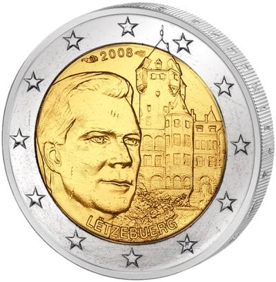 Монета номиналом 2 евро Замок Берг. Люксембург, 2008 годL2070 EМонета номиналом 2 евро Замок Берг. Люксембург, 2008 год Диаметр 2,5 см. Сохранность UNC (без обращения).