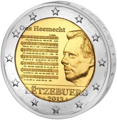 Монета номиналом 2 евро Национальный Гимн. Люксембург, 2013 годF30 BLUEМонета номиналом 2 евро Национальный Гимн. Люксембург, 2013 год Диаметр 2,5 см. Сохранность UNC (без обращения).