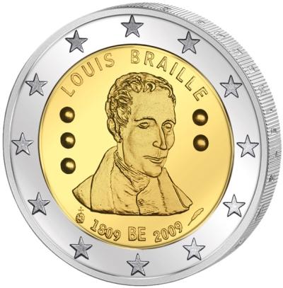 Монета номиналом 2 евро 200 лет со дня рождения Луи Брайля. Бельгия, 2009 годF30 BLUEМонета номиналом 2 евро 200 лет со дня рождения Луи Брайля. Бельгия, 2009 год Диаметр 2,5 см. Сохранность UNC (без обращения).