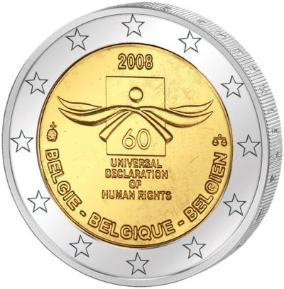 Монета номиналом 2 евро 60 лет Декларации прав человека. Бельгия, 2008 годF30 BLUEМонета номиналом 2 евро 60 лет Декларации прав человека. Бельгия, 2008 год Диаметр 2,5 см. Сохранность UNC (без обращения).