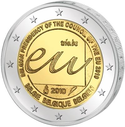 Монета номиналом 2 евро Председательство в ЕС. Бельгия, 2010 годL2070 EМонета номиналом 2 евро Председательство Бельгии в ЕС. Бельгия, 2010 год Диаметр 2,5 см. Сохранность UNC (без обращения).