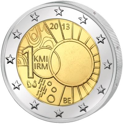 Монета номиналом 2 евро 100 лет Королевскому метеорологическому институту. Бельгия, 2013 годF30 BLUEМонета номиналом 2 евро 100 лет Королевскому метеорологическому институту. Бельгия, 2013 год Диаметр 2,5 см. Сохранность UNC (без обращения).