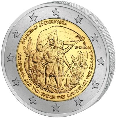 Монета номиналом 2 евро Воссоединение с Критом. Греция, 2013 годF30 BLUEМонета номиналом 2 евро Воссоединение с Критом. Греция, 2013 год Диаметр 2,5 см. Сохранность UNC (без обращения).