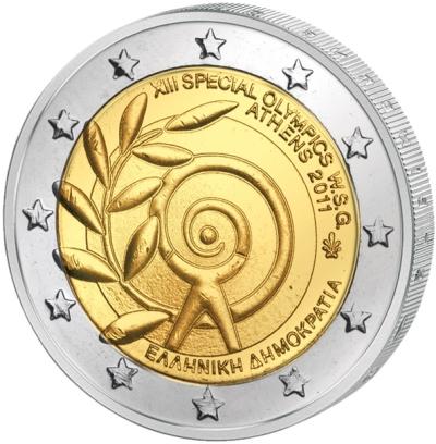 Монета номиналом 2 евро Всемирные Специальные Олимпийские игры. Греция, 2011 год211104Монета номиналом 2 евро Всемирные Специальные Олимпийские игры. Греция, 2011 год. Диаметр 2,5 см. Сохранность UNC (без обращения).