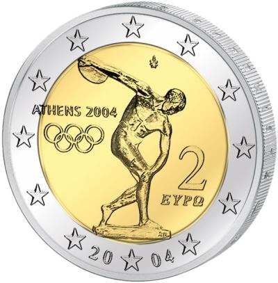 Монета номиналом 2 евро Летние Олимпийские игры 2004 года. Греция, 2004 годL2070 EМонета номиналом 2 евро Летние Олимпийские игры 2004 года. Греция, 2004 год Диаметр 2,5 см. Сохранность UNC (без обращения).