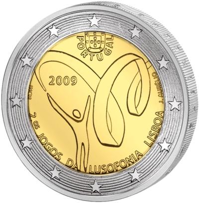 Монета номиналом 2 евро Спортивные игры португалоязычных стран. Португалия, 2009 годF30 BLUEМонета номиналом 2 евро Спортивные игры португалоязычных стран. Португалия, 2009 год Диаметр 2,5 см. Сохранность UNC (без обращения).