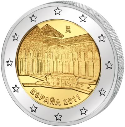 Монета номиналом 2 евро Альгамбра, Хенералифе и Альбайсин в Гренаде. Испания, 2011 годL2070 EМонета номиналом 2 евро Альгамбра, Хенералифе и Альбайсин в Гренаде. Испания, 2011 год. Диаметр 2,5 см. Сохранность UNC (без обращения).