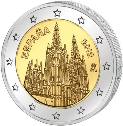 Монета номиналом 2 евро Кафедральный собор в Бургосе. Испания, 2012 год211104Монета номиналом 2 евро Кафедральный собор в Бургосе. Испания, 2012 год. Диаметр 2,5 см. Сохранность UNC (без обращения).