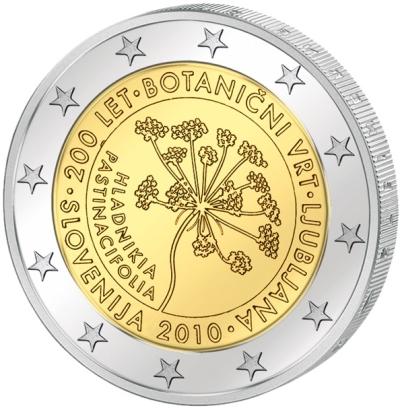 Монета номиналом 2 евро 200 лет ботаническому саду в Любляне. Словения, 2010 годF30 BLUEМонета номиналом 2 евро 200 лет ботаническому саду в Любляне. Словения, 2010 год Диаметр 2,5 см. Сохранность UNC (без обращения).