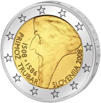 Монета номиналом 2 евро Примож Трубар. Словения, 2008 годF30 BLUEМонета номиналом 2 евро Примож Трубар. Словения, 2008 год Диаметр 2,5 см. Сохранность UNC (без обращения).