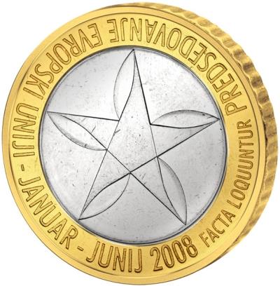 Монета номиналом 3 евро Председательство в ЕС. Словения, 2008 годF30 BLUEМонета номиналом 3 евро Председательство в ЕС. Словения, 2008 год Состав: Кольцо-алюминиевая бронза, сердцевина-мельхиор Диаметр: 32 мм Толщина: 2.4 мм Тираж: 500000 шт. Состояние: UNC (без обращения)
