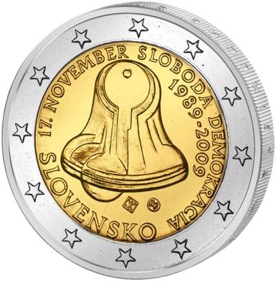 Монета номиналом 2 евро 20 лет Бархатной революции. Словакия, 2009 годL2070 EМонета номиналом 2 евро 20 лет Бархатной революции. Словакия, 2009 год. Диаметр 2,5 см. Сохранность UNC (без обращения).