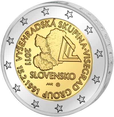 Монета номиналом 2 евро 20-летие создания Вишеградской группы. Словакия, 2011 год211104Монета номиналом 2 евро 20-летие создания Вишеградской группы. Словакия, 2011 год Диаметр 2,5 см. Сохранность UNC (без обращения).