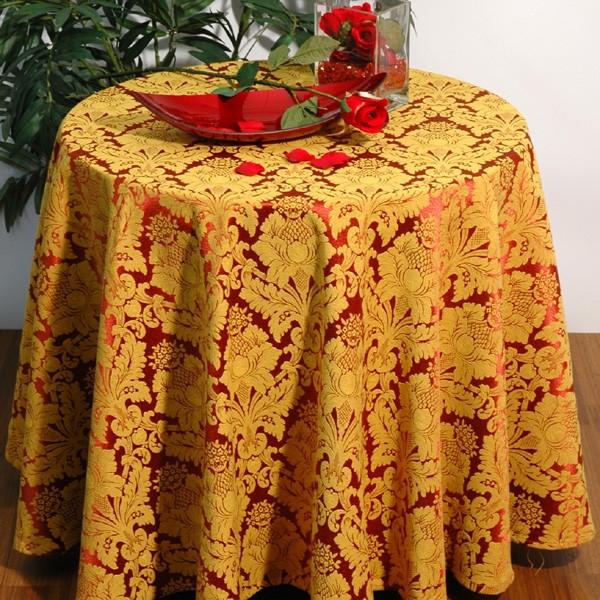 Скатерть Schaefer, круглая, цвет: желтый, красный, 170 см06023-414Круглая скатерть Schaefer выполнена из полиэстера желтого и красного цветов и оформлена фактурным рисунком. Использование такой скатерти сделает застолье более торжественным, поднимет настроение гостей и приятно удивит их вашим изысканным вкусом. Также вы можете использовать эту скатерть для повседневной трапезы, превратив каждый прием пищи в волшебный праздник и веселье.