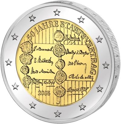 Монета номиналом 2 евро 50 лет договору о нейтралитете. Австрия, 2005 годF30 BLUEМонета номиналом 2 евро 50 лет договору о нейтралитете. Австрия, 2005 год Диаметр 2,5 см. Сохранность UNC (без обращения).