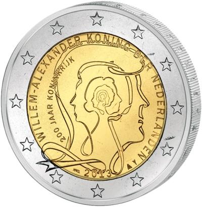 Монета номиналом 2 евро 200 лет Королевству Нидерландов. Нидерланды, 2013 годF30 BLUEМонета номиналом 2 евро 200 лет Королевству Нидерландов. Нидерланды, 2013 год Диаметр 2,5 см. Сохранность UNC (без обращения).