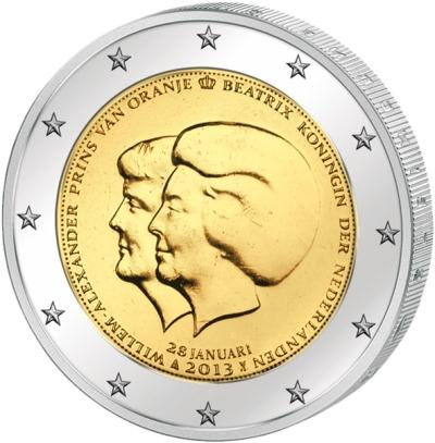 Монета номиналом 2 евро Королева Беатрикс и принц Виллем-Александр. Нидерланды, 2013 годF30 BLUEМонета номиналом 2 евро Королева Беатрикс и принц Виллем-Александр. Нидерланды, 2013 год Диаметр 2,5 см. Сохранность UNC (без обращения).
