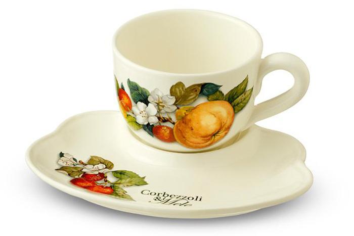 Набор чайный Nuova Cer Итальянские фрукты, 500 млNC7960-CEM-ALЧайный набор Nuova Cer Итальянские фрукты изготовлен из высококачественной керамики бежевого цвета и украшен изображением фруктов. Изысканный дизайн придает набору особый шарм, который понравится каждому. В набор входит: кружка и блюдце-поднос. Такой набор станет прекрасным подарком.