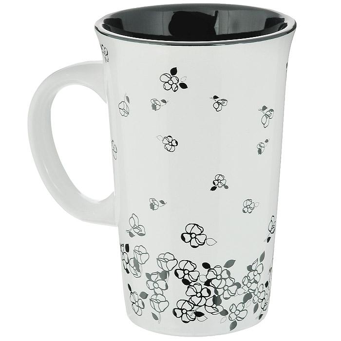 Кружка House & Holder Цветы, цвет: белый, черный, 350 млDP-91-07465Кружка House & Holder Цветы изготовлена из высококачественной керамики. Внешняя поверхность оформлена изображениями цветов. Такая кружка порадует вас дизайном и функциональностью, а пить чай из нее станет еще приятнее. Объем: 350 мл. Диаметр кружки (по верхнему краю): 8,5 см. Высота кружки: 13 см.
