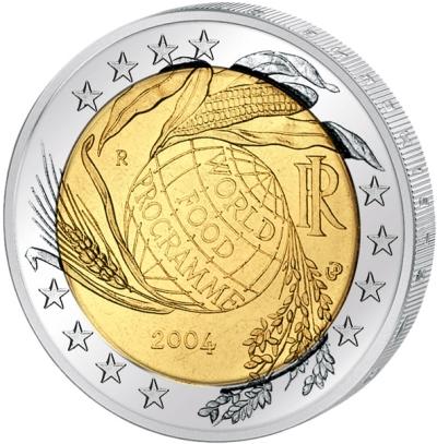 Монета номиналом 2 евро Всемирная продовольственная программа. Италия, 2004 годF30 BLUEМонета номиналом 2 евро Всемирная продовольственная программа. Италия, 2004 год Диаметр 2,5 см. Сохранность UNC (без обращения).