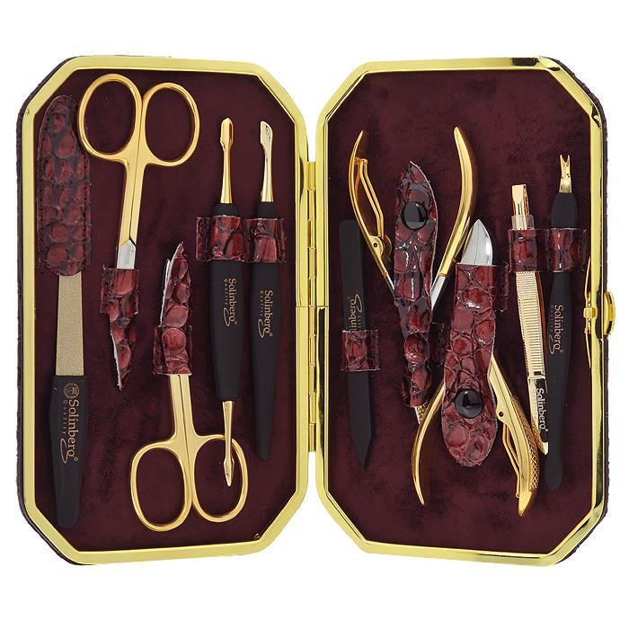Solinberg Маникюрный набор, 10 предметов. 140-1725140-1725Маникюрный набор Solinberg, выполненный из высокопрочной стали золотистого цвета и пластика, состоит из 10 предметов для ухода за ногтями: маникюрных ножниц для ногтей с изогнутыми лезвиями, ножниц для кутикул, пинцета для бровей, металлической пилки, полировочной пилки, маникюрных кусачек для натуральных ногтей, маникюрного триммера, педикюрных кусачек и 2-х инструментов для обработки кутикул. Инструменты хранятся в оригинальном кожаном футляре. Набор Solinberg станет незаменимым атрибутом при уходе за ногтями рук и ног в домашних условиях и отлично подойдет в качестве подарка.