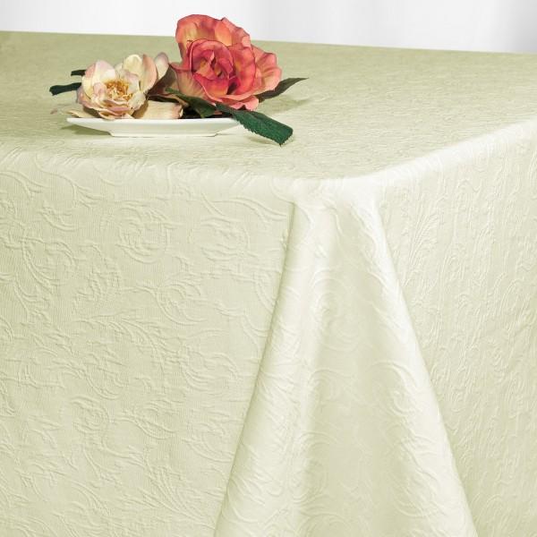 Скатерть Schaefer, прямоугольная, цвет: шампань, 130 x 170 см. 41274127/FB.00-130*170Великолепная скатерть Schaefer, выполненная из полиэстера, органично впишется в интерьер любого помещения, а оригинальный дизайн удовлетворит даже самый изысканный вкус. Скатерть изготовлена из материала цвета шампань с выпуклым орнаментом и обладает жироводооталкивающими свойствами, хорошо держит форму и лежит на столе. Это текстильное изделие станет удобным и оригинальным украшением вашего дома!