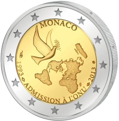 Монета номиналом 2 евро 20 лет ООН. Монако, 2013 годF30 BLUEМонета номиналом 2 евро 20 лет ООН. Монако, 2013 год Диаметр 2,5 см. Сохранность UNC (без обращения).