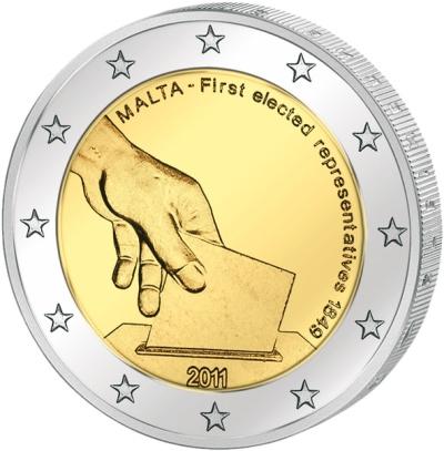 Монета номиналом 2 евро Первые избранные представители совета Мальты 1849 года. Мальта, 2011 годL2070 EМонета номиналом 2 евро Первые избранные представители совета Мальты 1849 года. Мальта, 2011 год. Диаметр 2,5 см. Сохранность UNC (без обращения).