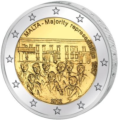 Монета номиналом 2 евро Совет большинства 1887 года. Мальта, 2012 годL2070 EМонета номиналом 2 евро Совет большинства 1887 года. Мальта, 2012 год Диаметр 2,5 см. Сохранность UNC (без обращения).