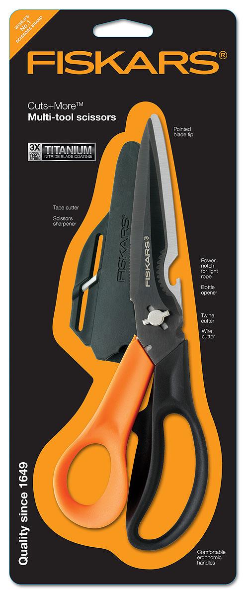Ножницы многофункциональные Fiskars, для правшей, 23 см1000809Многофункциональные ножницы для правшей Fiskars включают в себя: удобную эргономичную ручку; кусачки; резак для шпагата; открывалку для бутылок; выемку для обрезания верёвки; шило; точилку для ножниц; нож для открывания коробок, закрытых клейкой лентой; лезвие с титановым покрытием.