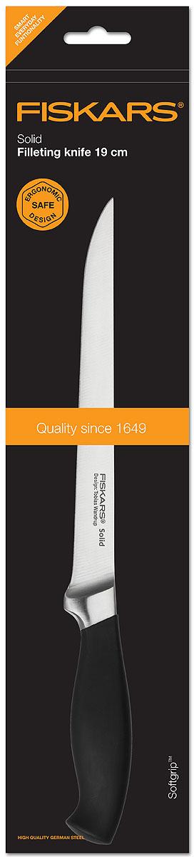 Нож кованный Fiskars филейный, 19 см857306Ножи из серии Solid разработаны специально для ценителей высокого качества, которым одинаково важна эргономичность, острота лезвия и современный, привлекательный дизайн. Благодаря нескользящим рукояткам ножи данной серии исключительно удобны в использовании, а выкованный вручную выступ ножа обеспечивает идеальное равновесие. Специальный упор для пальцев предотвращает соскальзывание руки на лезвие. Поверхность лезвия закалена особым способом, поэтому ножи очень долгое время остаются острыми.
