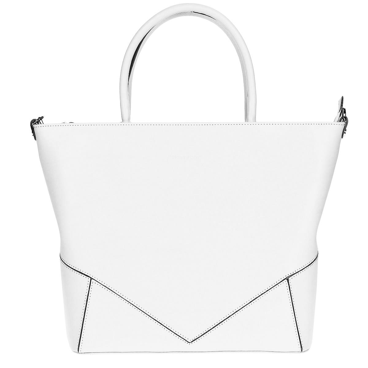 Женская сумка Gianni Conti, цвет: белый. 843940E Bianco843940E whiteСтильная сумка Gianni Conti выполнена из натуральной кожи белого цвета. Сумка имеет одно отделение, которое закрывается на застежку-молнию. Внутри расположен вшитый кармашек на молнии, открытый кармашек, два кармашка для мелочей и мобильного телефона, один кармашек для пишущих принадлежностей. На задней стороне сумки расположен вшитый кармашек на молнии. Сумка оснащена удобными ручками и съемным плечевым ремнем. Сумка оснащена ножками для лучшей устойчивости. Фурнитура - серебристого цвета. Сумка - это стильный аксессуар, который подчеркнет вашу индивидуальность и сделает ваш образ завершенным. Характеристики: Материал: натуральная кожа, текстиль, металл. Цвет: белый. Размер сумки: 40 см х 30 см х 12 см. Высота ручек: 15 см. Длина плечевого ремня: 60-120 см. Артикул: 843940E Bianco.