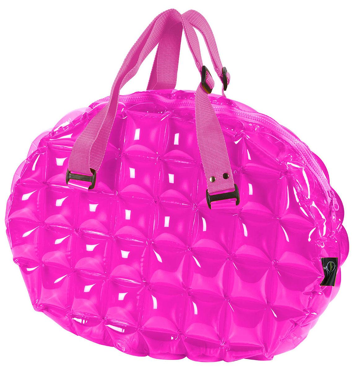 Сумка надувная спортивная Inflat Decor, цвет: фуксия. 01230123 Pinky PurpleЯркая надувная сумка - великолепный аксессуар на лето! Сумка овальной формы выполнена из ПВХ и снабжена ручками из полиэстера. Модель закрывается на пластиковую молнию. Сумка легко надувается при помощи мини-насоса (входит в комплект) или рта. В сдутом виде сумка очень компактна и не займет много места. Надувная вместительная сумка - отличное решение для отдыха на пляже или похода в спортзал.