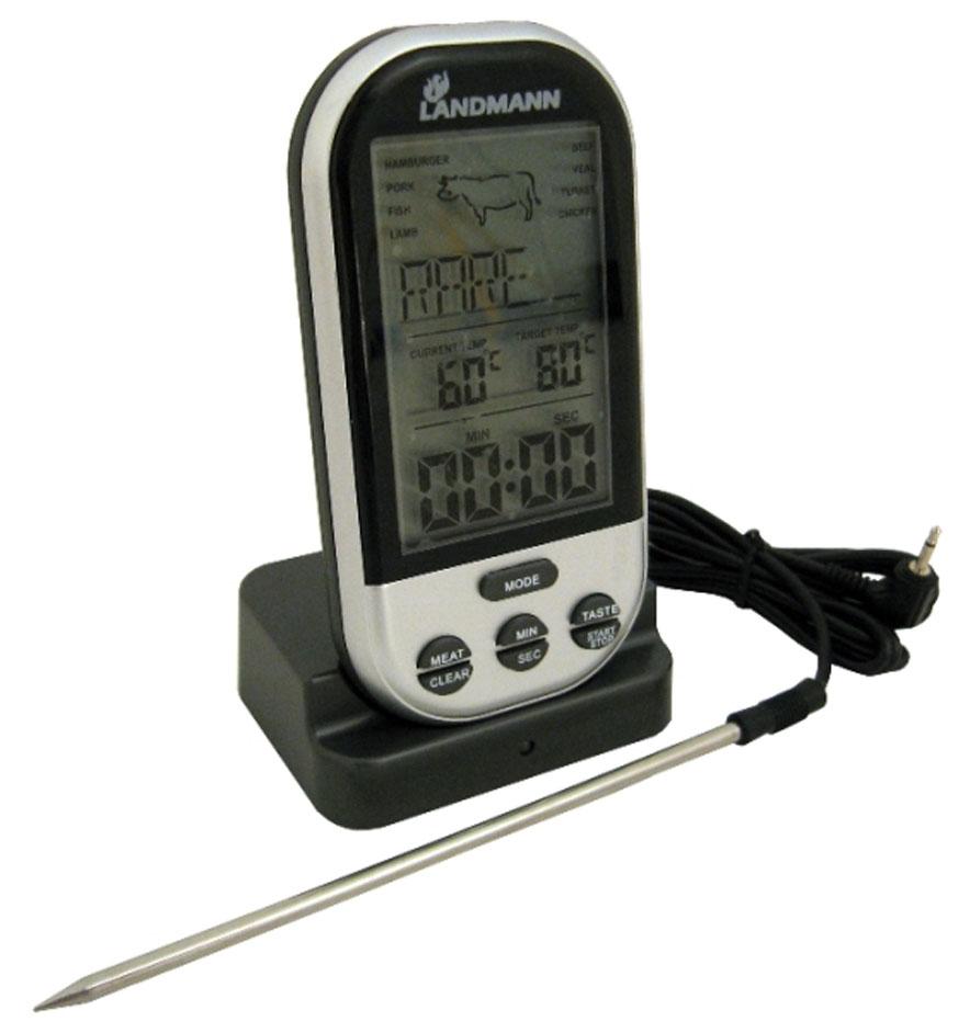 Беспроводной термометр Landmann. 1362513625Радио-термометр Landmann дает информацию о температуре продукта в процессе приготовления и готовности блюда. Радиус приёма сигнала от датчика до термометра составляем до 30 м. Имеет настройки на 5 уровней жарки и 8 видов мяса. Удобный большой дисплей из высококачественного ABS-пластика. Имеет функцию настройки шкалы максимально допустимой температуры с функцией оповещения. Секундомер с последовательным и обратным отсчётом времени с функцией стопа и оповещения.