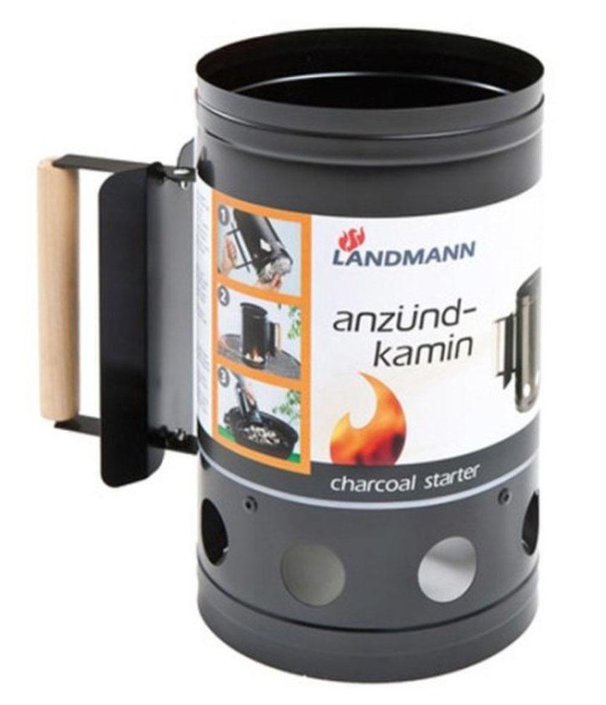 Емкость для розжига угля Landmann. 131131Емкость Lanmann заполняется углем/брикетами, обкладывается бумагой и поджигается. Готовность углей для использования определяется по внешнему виду: они должны раскалится до красна и покрыться пеплом. Тогда их можно пересыпать в барбекю держась за деревянную ручку. Идеально подходит для барбекю.