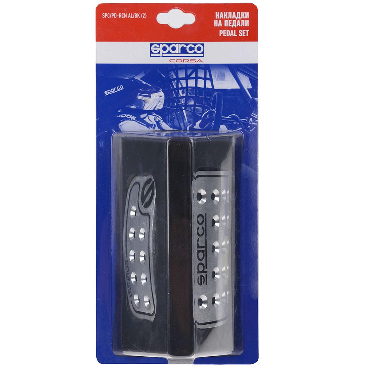 Накладки на педали Sparco Racing, алюминиевые, цвет: серебристый, черный, 2 шт, 1/30SPC/PD-RCN AL/BK (2)Комплект Sparco Racing состоит из двух накладок на педали, выполненных в спортивном дизайне. Конструкция накладок разработана на основе аксессуаров, используемых в автогонках. В качестве материала изделий используется матовый алюминий с глубокой фирменной гравировкой «Sparco» и рядом отверстий, которые препятствуют соскальзыванию ног с педалей управления. Комплект совместим с большинством автомобилей, оснащенных автоматической трансмиссией. Накладки устанавливаются на штатные педали автомобиля, которые при этом, как правило, необходимо просверлить. Для монтажа накладок к комплекту прилагаются необходимые крепежные элементы и инструкция по установке. Характеристики: Материал: алюминий. Цвет: серебристый, черный. Комплектация: 2 шт. Размеры накладки на педаль акселератора: 115,5 х 55 мм. Размеры накладки на педаль тормоза: 80,5 х 55 мм. Размер упаковки: 31 см х 15 см х 9 см. Артикул: SPC/PD-RCN AL/BK (2).