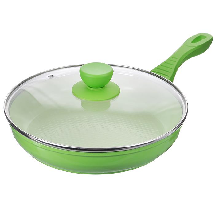 Сковорода Bekker Premium с крышкой, с керамическим покрытием, цвет: зеленый. Диаметр 24 см. BK-3723BK-3723Сковорода Bekker Premium изготовлена из алюминия с внутренним антипригарным керамическим покрытием Exclion. Благодаря этому пища не пригорает и не прилипает к стенкам. Готовить можно с минимальным количеством масла и жиров. Гладкая поверхность обеспечивает легкость ухода за посудой. Внешнее покрытие - цветной жаростойкий лак. Изделие оснащено удобной бакелитовой ручкой с прорезиненным покрытием, которая не нагревается в процессе готовки. Крышка изготовлена из термостойкого стекла, оснащена ободом из нержавеющей стали, ручкой и пароотводом. Такая крышка позволяет следить за процессом приготовления пищи без потери тепла. Она плотно прилегает к краю посуды, сохраняя аромат блюд. Сковорода подходит для использования на всех типах кухонных плит, включая индукционные. Можно мыть в посудомоечной машине.