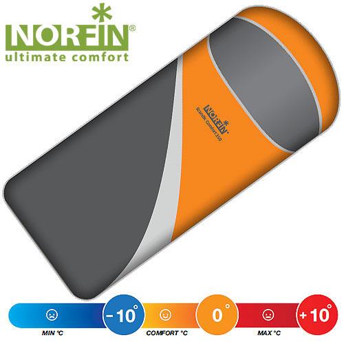 Мешок-одеяло спальный Norfin SCANDIC COMFORT 350 NS L, цвет: оранжевый/серый, левосторонняя молния