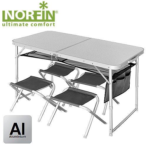 Набор складной мебели Norfin Runn, 5 предметовNF-20310Набор из складного стола и четырех стульев. Стулья складываются и убираются вовнутрь стола, который в собранном виде имеет форму чемодана. Размер в сложенном виде: 60 см x 60 см x 8 см. Максимальная нагрузка: 30 кг для стола, 90 кг для стульев. Каркас: алюминий 25х22 мм, MDF, 600D polyester.