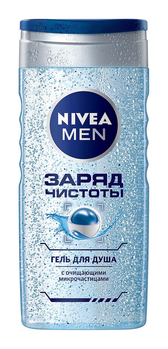 NIVEA Гель для душа Заряд чистоты 250 мл1001348901Гель для душа Nivea for Men Энергия чистоты с массирующими микрочастицами освежает и тонизирует. Микрочастицы в составе геля оказывают массирующее действие, а освежающий аромат расслабляет и помогает восстановить силы.