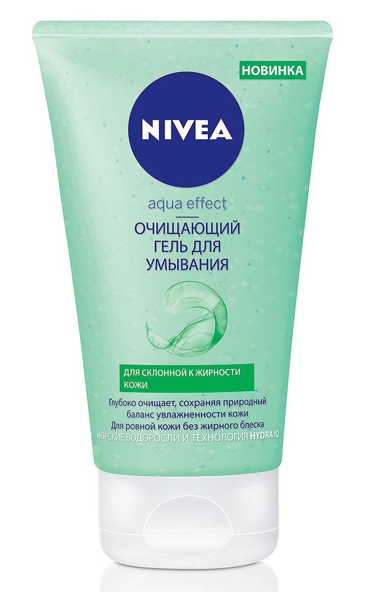 Nivea Очищающий гель для умывания Aqua Effect, для склонной к жирности кожи, 150 мл10021010Очищающий гель для умывания Nivea Aqua Effect глубоко очищает, сохраняя природный баланс увлажненности кожи. Для ровной кожи без жирного блеска. Гель для умывания с морскими водорослями и Hydra IQ: Глубоко очищает поры благодаря пилинг-частицами и помогает предотвратить появление несовершенств. Устраняет жирный блеск. Поддерживает природный баланс увлажненности кожи. Как это работает Активные компоненты: •отшелушивающие микрочастицы •экстракт риса и лемонграсса Действие •отшелушивающие микрочастицы глубоко очищают кожу, предотвращая воспаление •регулирующая излишний блеск формула сохраняет матовость кожи •не содержит щелочного мыла, не сушит кожу Результат: После использования очищающего геля для умывания кожа становится чистой, свежей и ухоженной Товар сертифицирован.