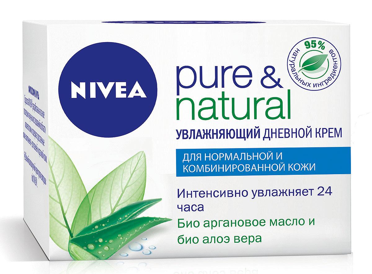 Дневной крем Nivea Visage Pure & Natural, для нормальной и комбинированной кожи, 50 мл1002073Увлажняющий дневной крем Pure & Natural от Nivea специально создан для нормальной и комбинированной кожи. День за днем натуральные ингредиенты этого крема восстанавливают природный баланс кожи, возвращая ей естественный, здоровый вид.